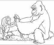 Coloring pages Gorilla and Disney child