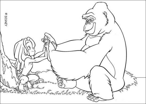 Free coloring and drawings Gorilla and Disney child Coloring page