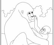Coloring pages Gorilla and its baby