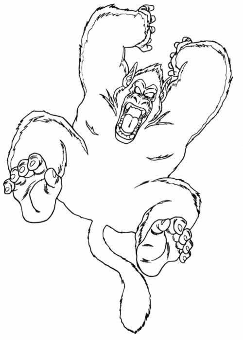 Free coloring and drawings Gorilla attacking Coloring page