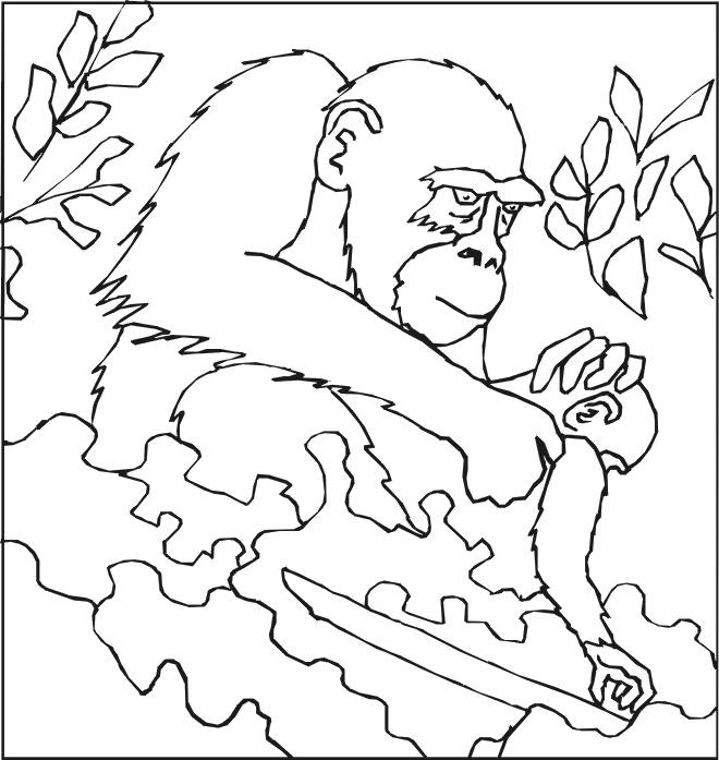 Free coloring and drawings Gorilla cares for her cub Coloring page