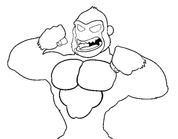 Free coloring and drawings Gorilla too strong Coloring page