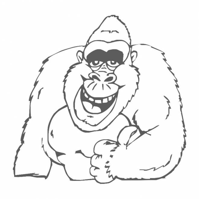 Free coloring and drawings Laughing gorilla Coloring page