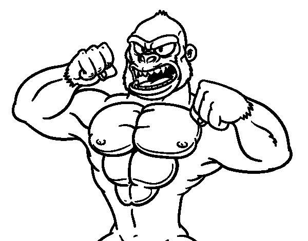 Free coloring and drawings Muscular gorilla Coloring page