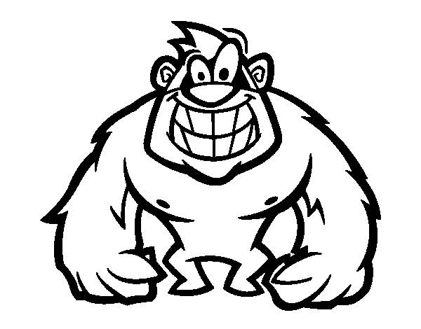 Free coloring and drawings Smiling gorilla Coloring page