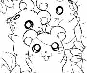 Coloring pages Hamtaro with his friends
