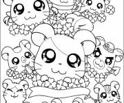Coloring pages Too cute hamsters