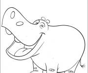 Coloring pages Funny hippo