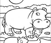 Coloring pages Hippopotamus and its young under the sun