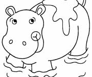 Coloring pages Hippopotamus in the water