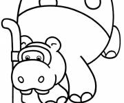 Coloring pages Hippopotamus while diving