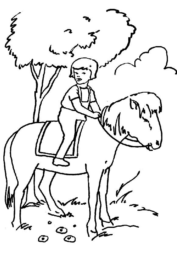 Free coloring and drawings A girl on a horse Coloring page