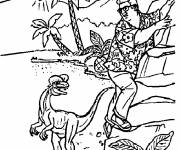 Free coloring and drawings Dinosaur and man Coloring page