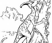 Free coloring and drawings Dinosaur on the tree Coloring page