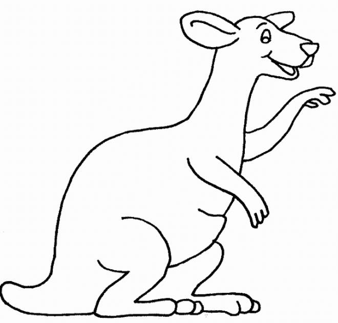 Free coloring and drawings Excited kangaroo Coloring page