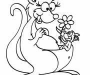 Free coloring and drawings Kangaroo and baby carrying a flower Coloring page