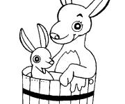 Coloring pages Kangaroo and baby in a bucket