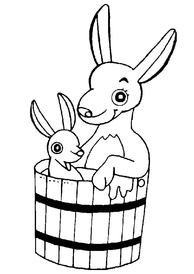 Free coloring and drawings Kangaroo and baby in a bucket Coloring page