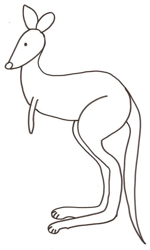 Free coloring and drawings kangaroo Easy to color Coloring page