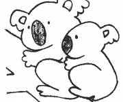 Free coloring and drawings A Koala mother and her baby Coloring page