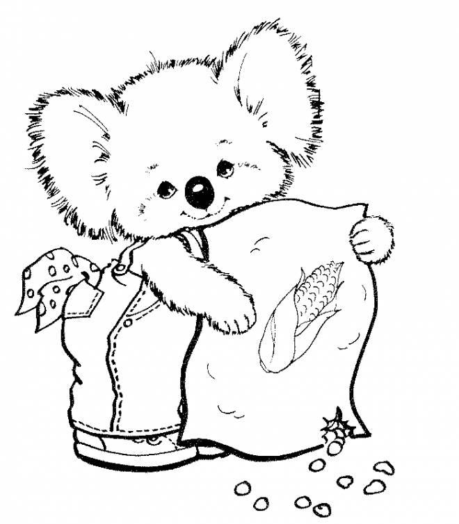 Printable Cute koala free sheets coloring page
