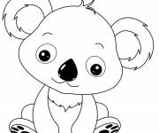 Free coloring and drawings Too cute little koala Coloring page
