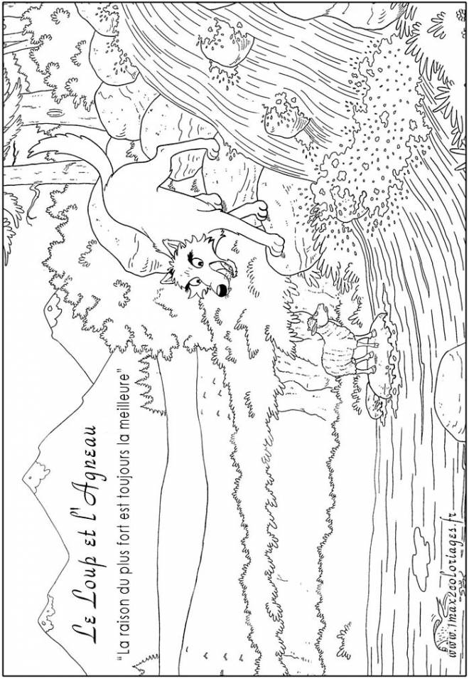 Free coloring and drawings A lamb and a wolf Coloring page