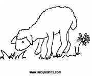 Free coloring and drawings Lamb and place of pasture Coloring page