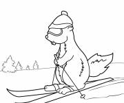 Coloring pages Groundhog Goes Skiing