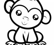 Coloring pages Little cute monkey