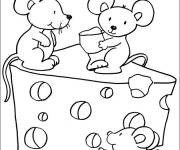 Coloring pages Mouse and cheese