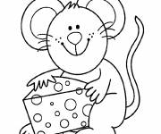 Coloring pages Mouse and its cheese
