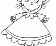 Coloring pages Mouse in dress