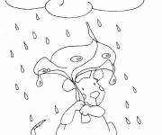 Coloring pages Mouse in the rain