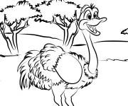 Coloring pages Ostrich has fun in nature