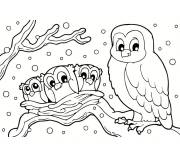 Coloring pages An owl and her children