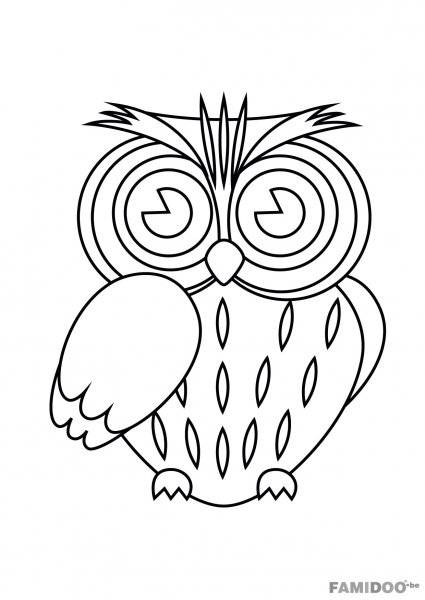 Free coloring and drawings Color owl Coloring page
