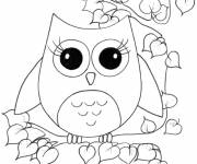 Coloring pages Cute owl in nature