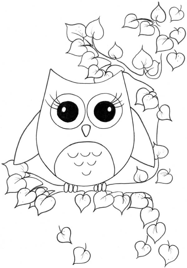 Free coloring and drawings Cute owl in nature Coloring page