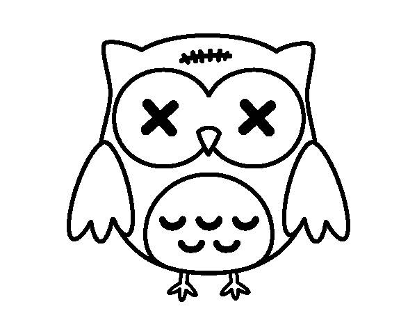 Free coloring and drawings Embarrassed Little Owl Coloring page