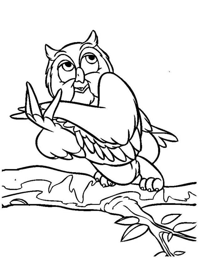 Free coloring and drawings Funny owl Coloring page