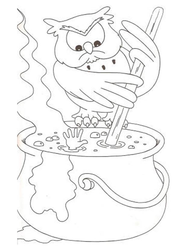 Free coloring and drawings Magician owl Coloring page