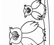 Coloring pages Owl and cub on the tree