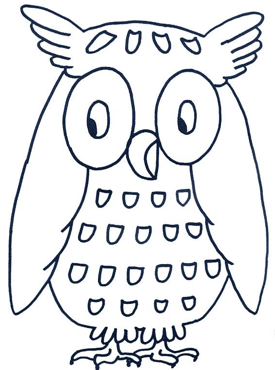 Free coloring and drawings Owl in blue Coloring page