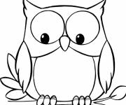 Free coloring and drawings Owl looks below Coloring page