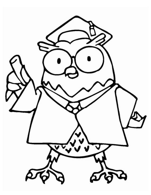 Free coloring and drawings Owl master Coloring page