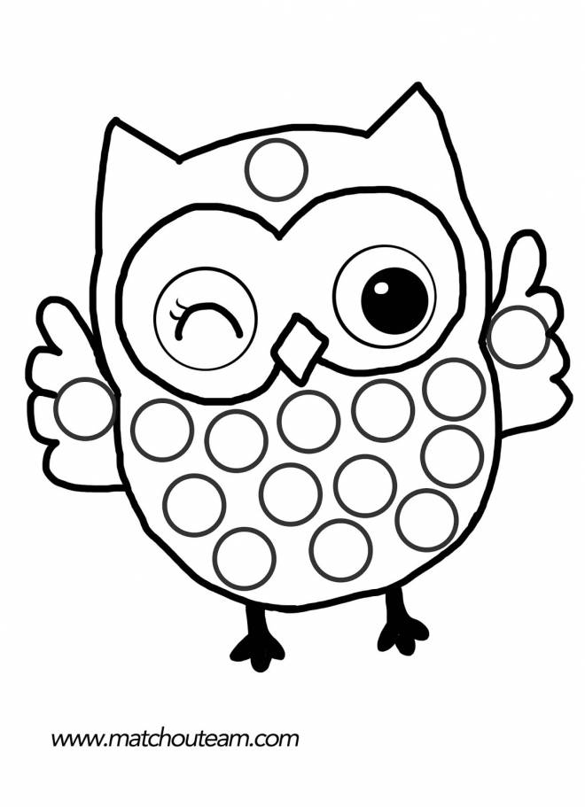Free coloring and drawings Owl raising hands Coloring page