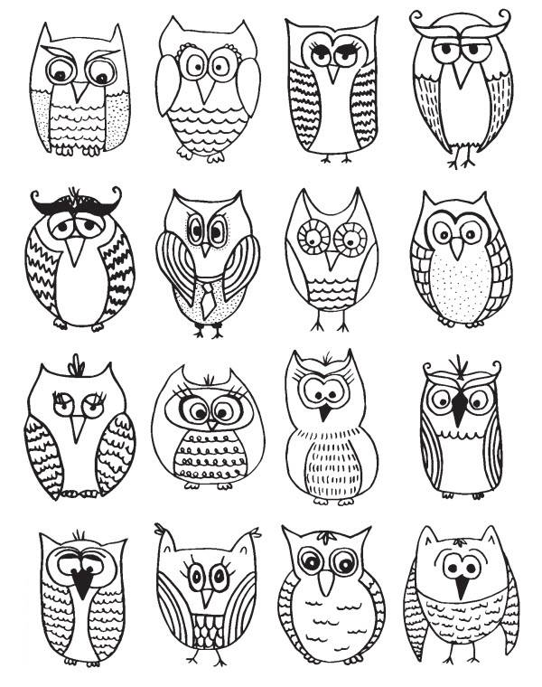 Free coloring and drawings Owls Coloring page