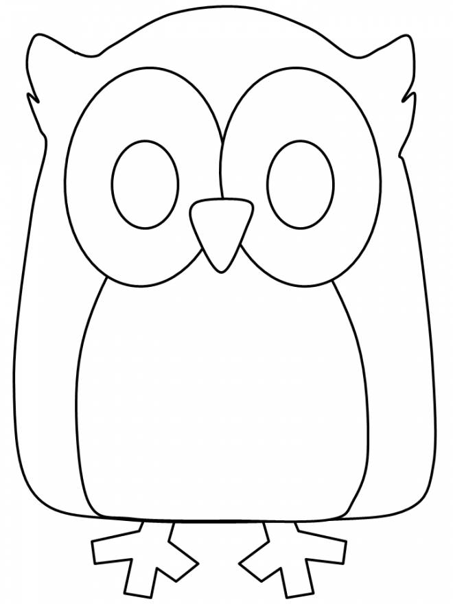 Free coloring and drawings Simple owl Coloring page