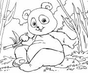 Coloring pages Little panda is having fun